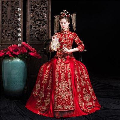 小红书同款秀禾服新娘2020新款女红色显瘦婚纱中式结婚礼服中国风
