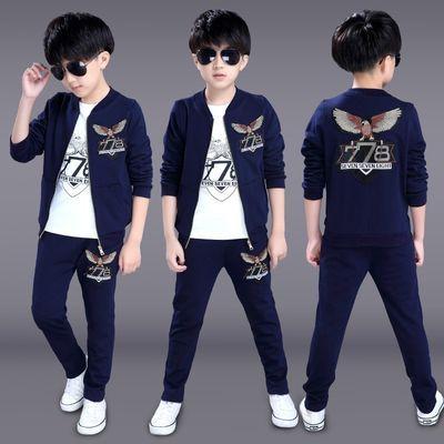 儿童男套装春季三件套运动2020新款小男孩5衣服7韩版10中大童12岁