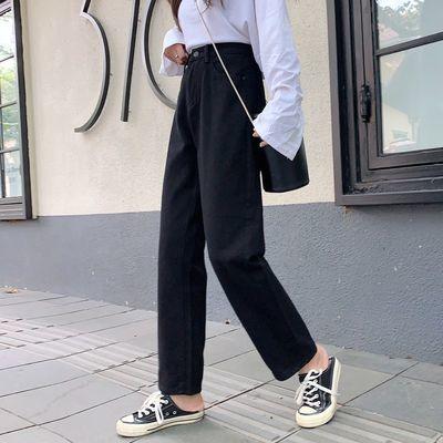 【2020春季新款】黑色牛仔裤女宽松高腰ins直筒显瘦阔腿九分裤子