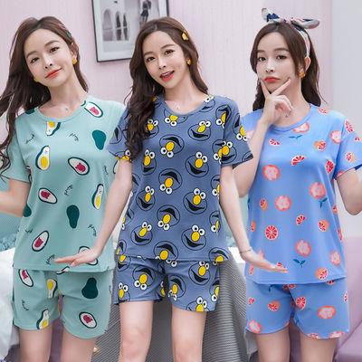 睡衣女夏季短袖短裤韩版可爱学生套装女士加大加肥孕妇休闲家居服