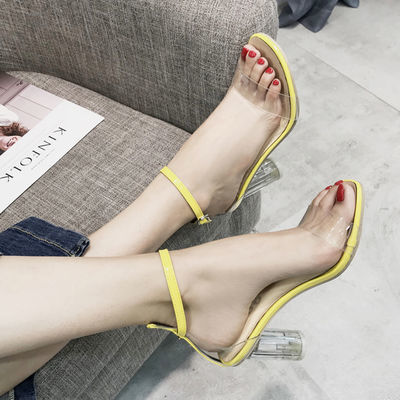 凉鞋2020新款女春季韩版百搭透明高跟鞋一字扣中空学生露趾罗马鞋