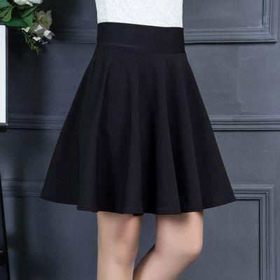 裙子女夏a字裙半身中长款百褶裙女春季黑色松紧广场舞高腰超短裙