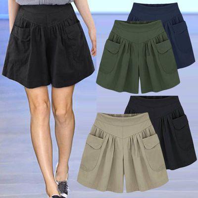 优质大码短裤女夏季200斤胖mm加肥加大码女装阔腿裤百搭热裤裙裤