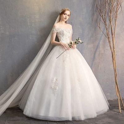 主婚纱礼服2019新款法式森系一字肩显瘦新娘女齐地简约结婚轻婚纱