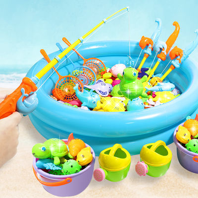 儿童磁性钓鱼玩具宝宝沙滩戏水池感应发光鱼男孩女孩套装摆摊批发