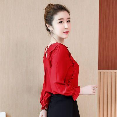 大红色雪纺女洋气V领白色衫长袖装新款超仙上衣服飘逸纯色女百搭