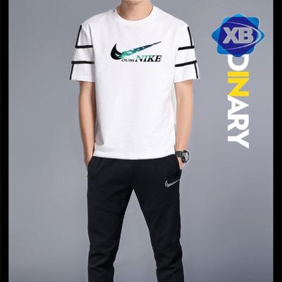 2019夏季运动卫衣OUMINIKE正品新款运动套装男圆领短袖T恤套装