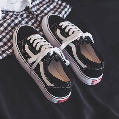 春季鞋子女2020夏季新款帆布鞋透气韩版百搭学生平底黑色休闲板鞋