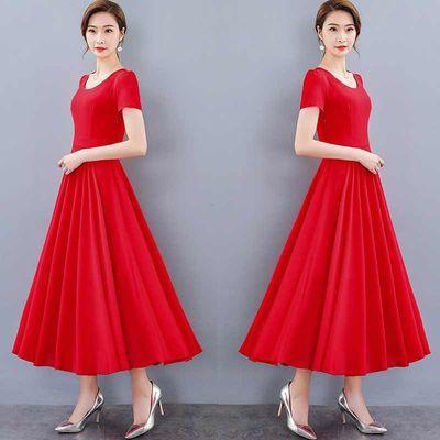 胖mm雪纺连衣裙2020夏季新款气质纯色过膝仙女长裙减龄加大码女装