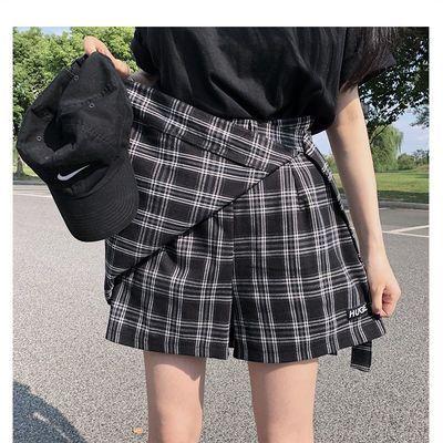 高腰格子裙半身裙短裙女学生夏韩版复古裙A字裙裙裤超短裙女裙子