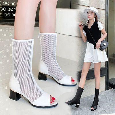 春秋夏季新款鱼嘴高跟网纱凉鞋子女镂空韩版后拉链女粗跟中筒凉靴