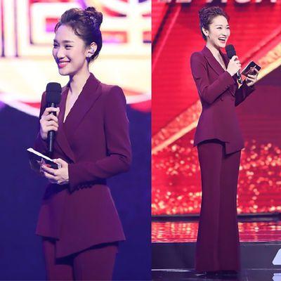酒红色西装套装女春季新款韩版气质修身职业装女装套装西服套装女