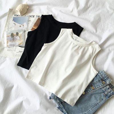 夏韩版修身显瘦短款露脐无袖打底衫运动工字吊带小背心上衣学生女