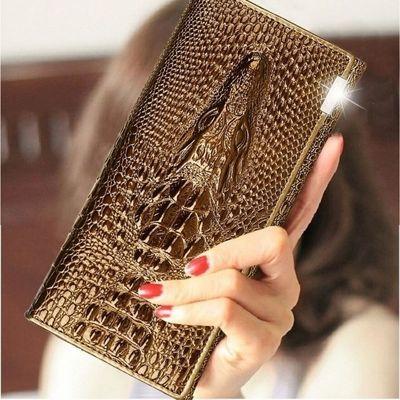 欧美新款牛皮鳄纹女士钱包长款多卡位真皮手拿包搭扣钱夹女