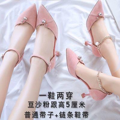 鞋子女夏2020新款猫跟鞋百搭一字扣韩版尖头高跟鞋女春季细跟单鞋