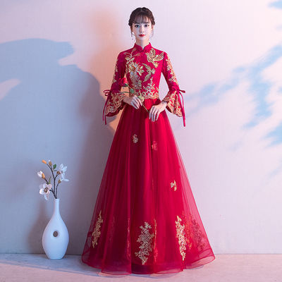 酒红色敬酒服新娘2019冬季长袖中式结婚遮肚子孕妇晚礼服女秀禾服
