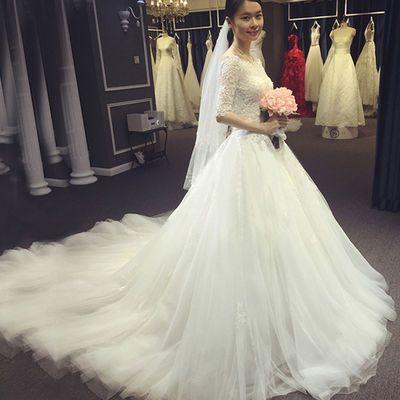 婚纱礼服2019风尚新款韩版一字肩长袖齐地蕾丝修身显瘦拖尾婚纱轻