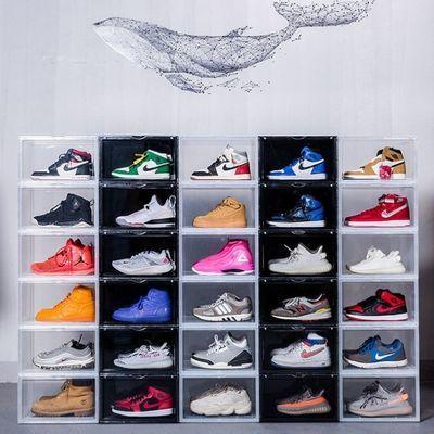 高端AJ鞋盒毒同款侧开透明吸磁收纳塑料宿舍防尘防潮塑料鞋盒神器