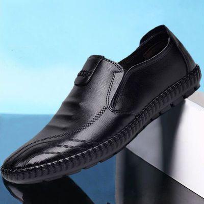 2020春夏新款英伦风休闲鞋PU平底皮鞋潮流男鞋春季透气驾车豆豆鞋