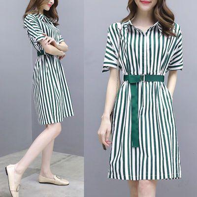 雪纺连衣裙女2020夏季新款ol气质修身中长款条纹衬衫连衣裙短袖潮