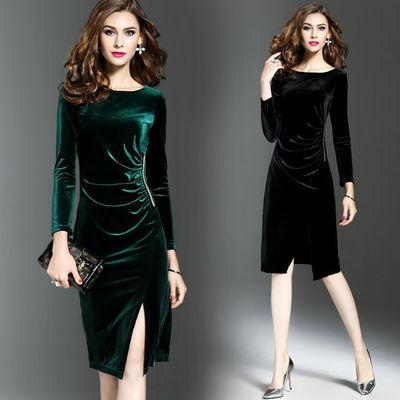 丝绒长袖修身连衣中长裙女气质礼服OL风裹裙女2020新款