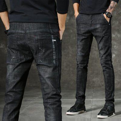 新款夏季弹力牛仔裤男士薄款韩版修身小脚直筒青年休闲裤子男潮流