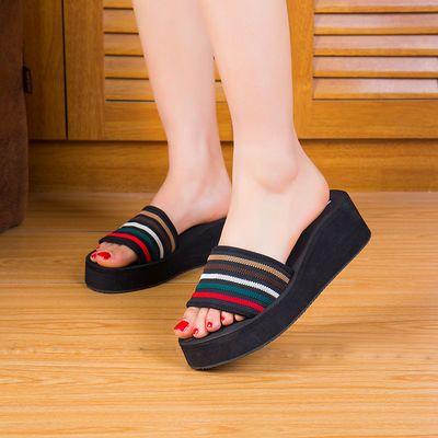 凉拖鞋厚底度假沙滩鞋拖2020新款高跟一字拖女夏时尚百搭外穿海边