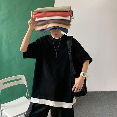 夏季纯色假两件短袖T恤男韩版潮流ins原宿风情侣宽松学生休闲上衣