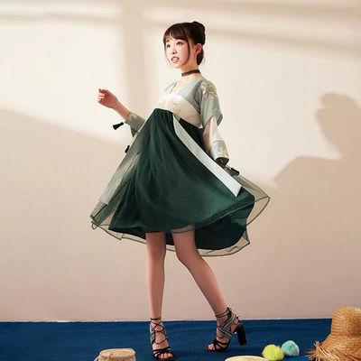 新款汉服女十三余小豆蔻绿篱齐胸襦裙汉元素假两件绣花连衣裙现货