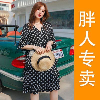 2020春夏季新款大码女装胖mm200斤韩版宽松显瘦一片式波点连衣裙