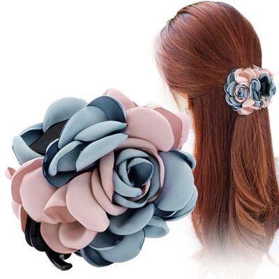 韩版发夹抓夹花朵发抓大号高档雪纺玫瑰花发饰发卡盘发发夹女饰品
