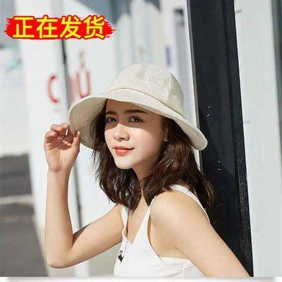 亚麻编织帽遮阳透气渔夫帽搭配款夏季时尚气质清新圆顶轻奢风女帽