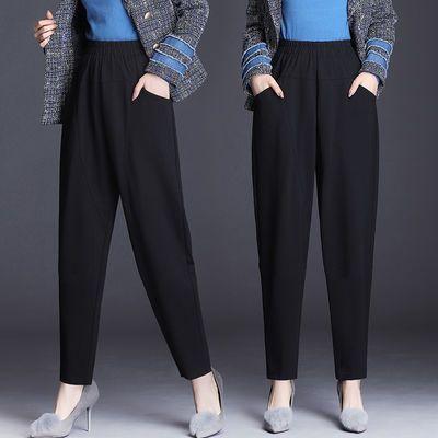 九分/长裤子女2020夏季薄款韩版宽松200斤哈伦裤西裤黑色休闲女裤