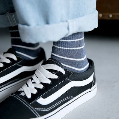条纹袜子女中筒袜ins风潮流百搭韩国夏季薄款韩版日系夏天长袜男