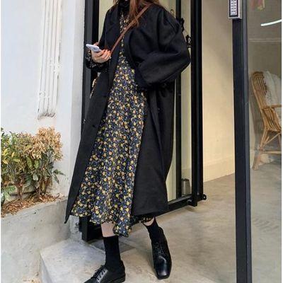 2020新款流行复古黑色双排扣气质加厚呢子大衣女中长款毛呢外套潮