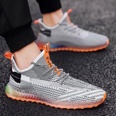 飞织男鞋椰子鞋爆款夏季4D打印个性彩色果冻底网红潮鞋透气运动鞋