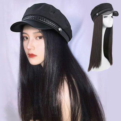 海军鸭舌帽子假发一体女时尚网红贝雷逼真秋冬天长直发头套式卷发