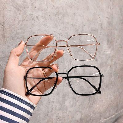 防辐射抗蓝光韩版近视眼镜黑框女复古文艺多边形平光眼镜男潮ins
