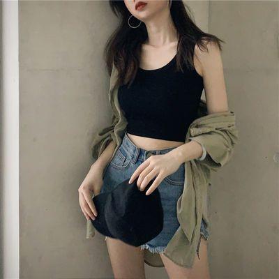 网红ins吊带背心女学生韩版工字背心女士内搭漏脐无袖打底内外穿