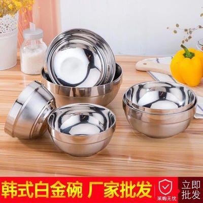 不锈钢碗大号饭碗双层隔热碗食堂家用碗饭店防摔防烫碗成人碗套装
