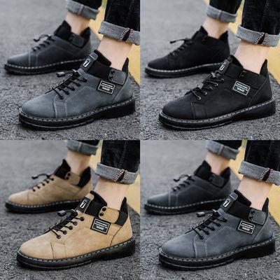 男鞋春季休闲马丁靴男士韩版潮流高帮短靴百搭英伦皮鞋工装男靴子