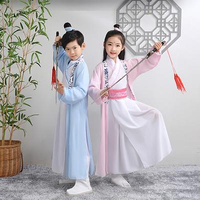 儿童古装汉服女童国学服男三字经弟子规演出服襦裙中国风表演服装