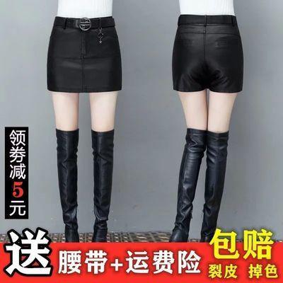 皮短裤裙裤女秋冬新款百搭高腰大码女士皮裤黑色皮短裙外穿靴裤子