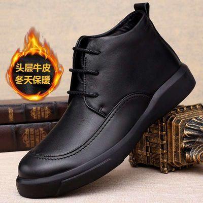 高帮皮鞋男真皮冬季保暖加绒棉鞋男士休闲皮鞋男软面皮英伦短靴潮