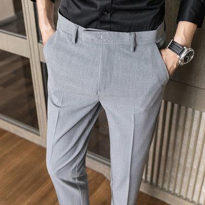 春夏款男士商务休闲条纹免烫抗皱西装长裤韩版修身直筒小脚西裤男