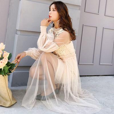 蕾丝网纱吊带裙套装连衣裙时尚两件套灯笼袖透视网纱A字蓬蓬裙仙