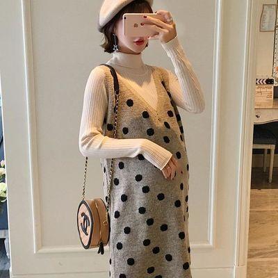 孕妇秋冬装2019新款V领波点针织毛衣加厚连衣裙女打底衫两件套装