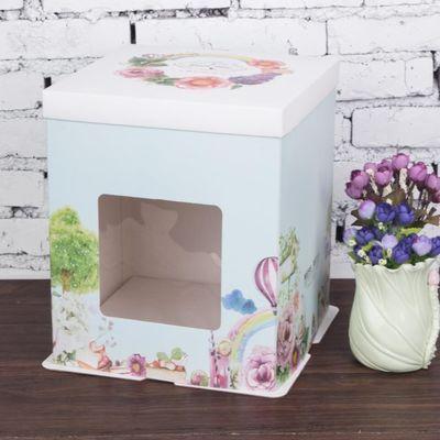 6/8/10/12寸生日蛋糕盒子包装盒加高芭比开窗手提烘焙包装盒批发