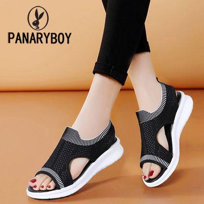 OPANARYBOY飞织网布镂空透气夏季套脚鱼嘴凉鞋松糕坡跟平底女鞋子