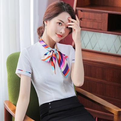 蝴蝶结衬衫女短袖时尚洋气2020夏装新款工作服职业气质雪纺白衬衣